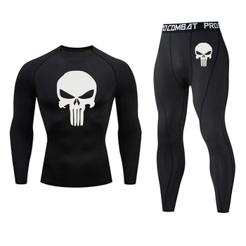 Brand Men s Suit Sports Compression Tights Skull MMA Tactics Underwear rashgard male Quick drying Gym
