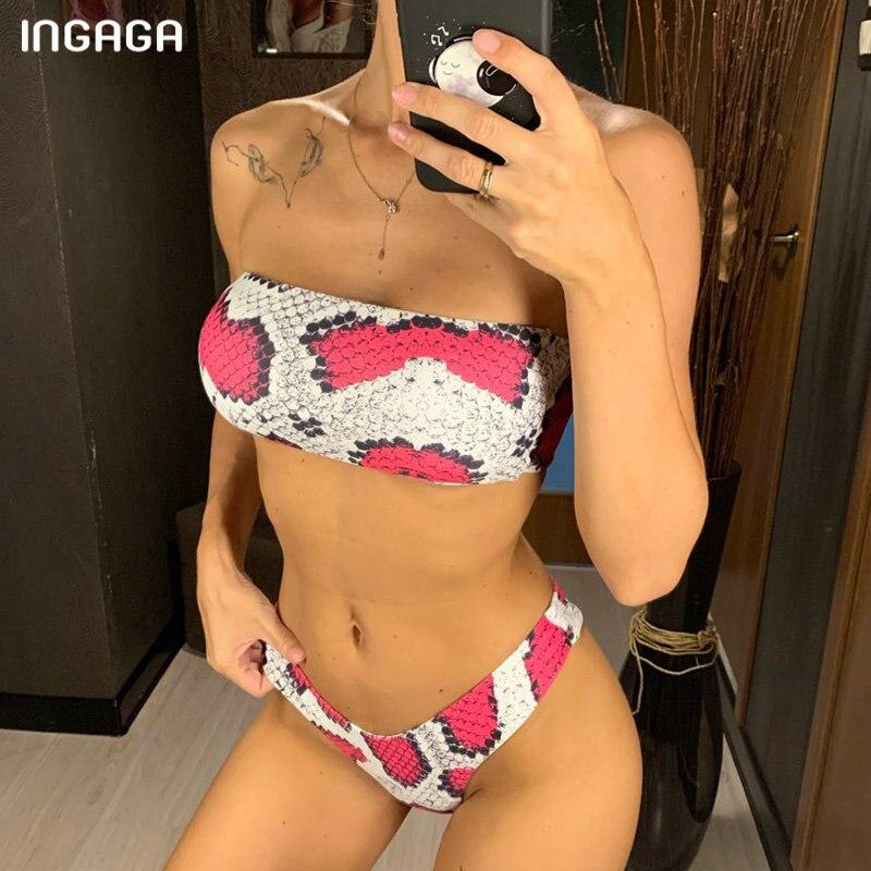 INGAGA High Cut Bikini 2019 Bandeau Swimwear Thong Biquini Snake Printing Swimsuit Women Sexy Bathing Suit Summer Beach