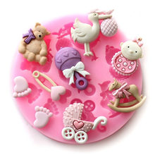 Baby Shower Party Toys Chocolate Cake Decorating Tools DIY Trojan Horse Baby Carriage Baking Mould Silicone Mold Dia 80mm(China)