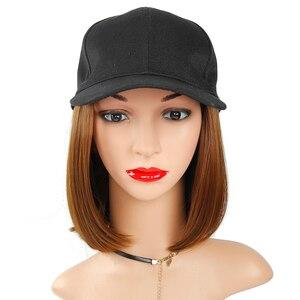 Image 4 - Peruka syntetyczna czapka z daszkiem z krótkimi prostymi peruki blond dla kobiet kobiece włókno termoodporne krótkie peruki