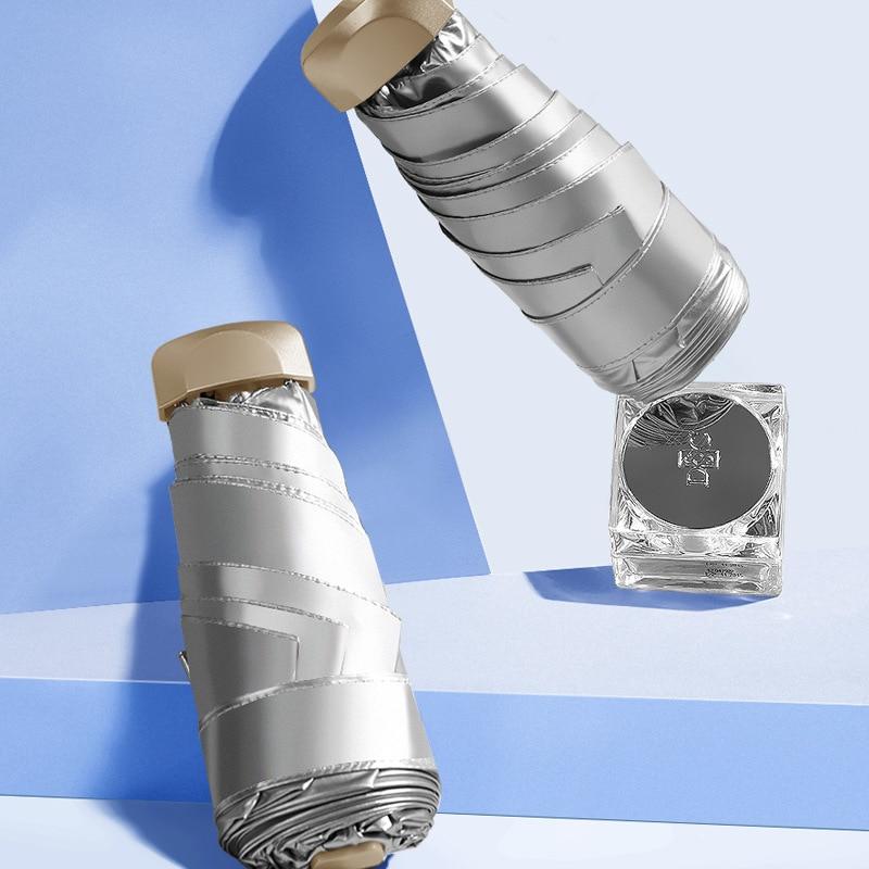 Titanium Silver Colloid Flat Half Off Parasol Sun-resistant Parasol Rain Or Shine Dual Purpose Portable Ultra-Light Folding Flat