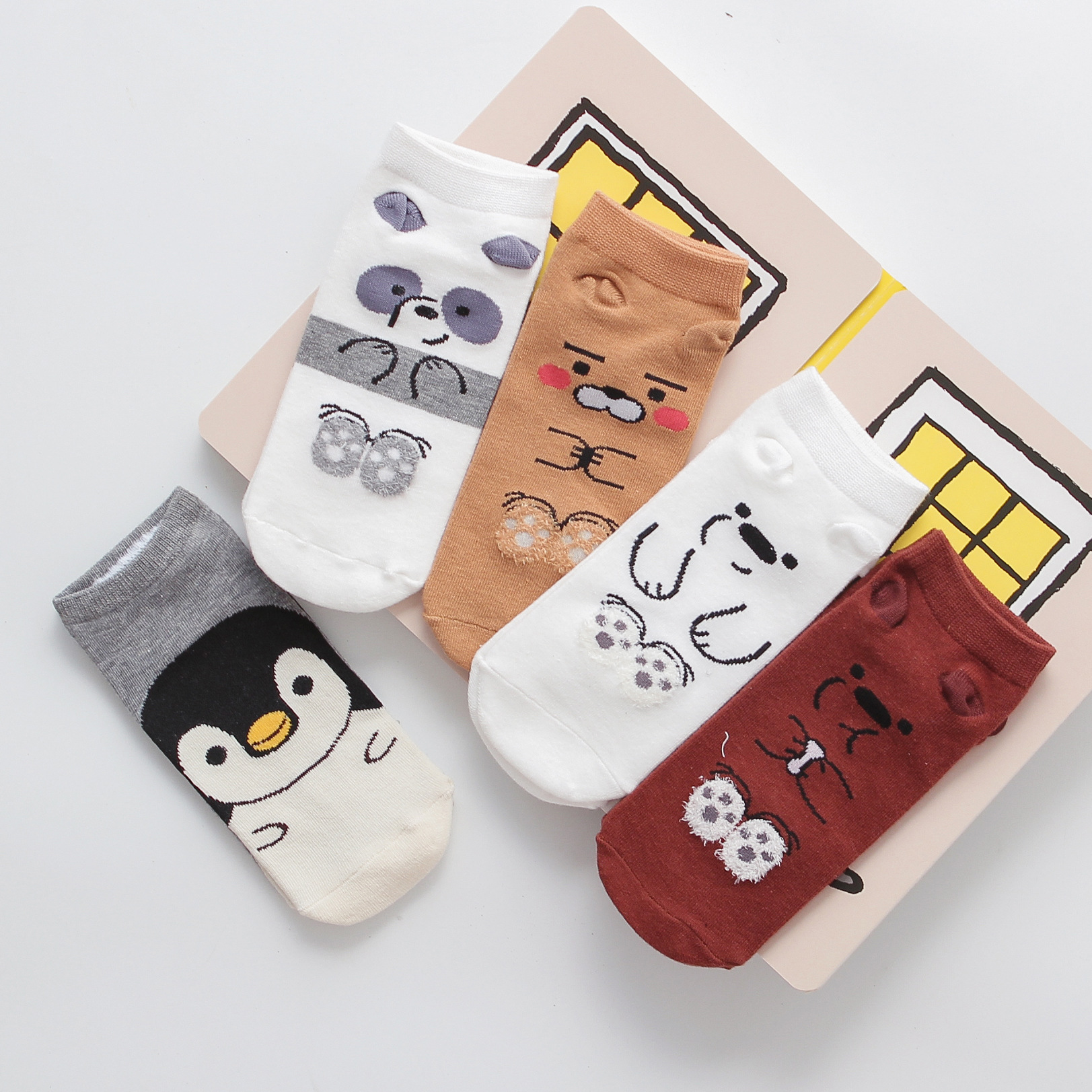 Ladies Socks Women Fashion Cartoon Socks Cotton Kitten Puppy Animal Pattern Cute Kawaii Funny Socks For Girls Short Ankle Socks