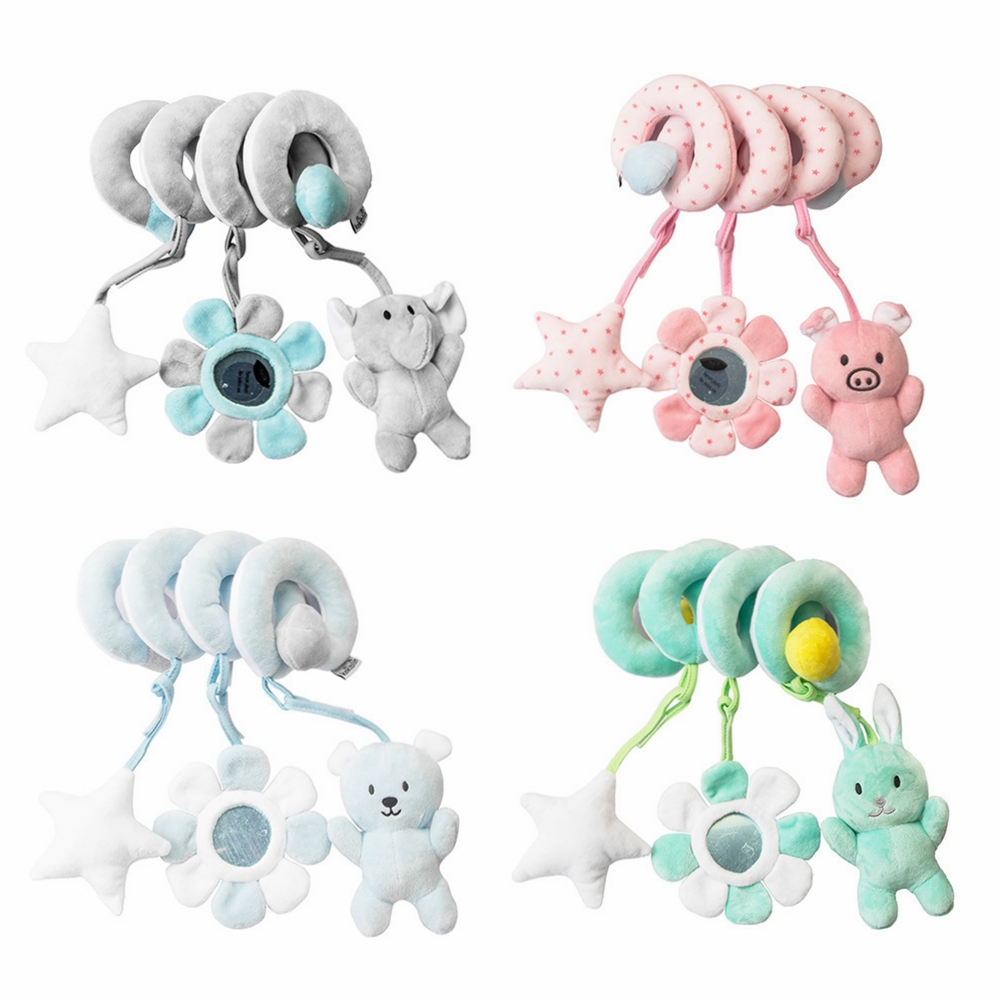 0-12 Months Educational Toddler Toys Plush Animal Rattle Mobile Infant Stroller Bed Crib Spiral Hanging Toys For Baby Toys Gift