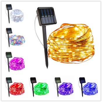 ledniceker multi colored solar led string lights with garden solar panel for garden patio christmas tree parties and all outdoor and indoor activities decoration 4 8 meters long 20 waterproof bulbs LED Outdoor Solar String Lights Fairy Holiday Christmas Party Garland Solar Garden Waterproof Light Christmas Lights Indoor