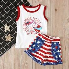 Criança meninas roupas cavalo independência dia colete topos borlas estrela listrado shorts 4th de julho crianças verão conjunto 1 2 3 4 5 anos