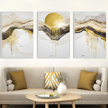 Golden Art Classical Luxury Canvas Painting Home Decor Wall Art Abstract Line Landscape Poster and Print for Living Room Design