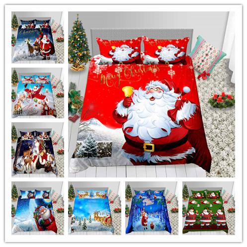 Merry Christmas Santa Claus Bedding Set Fashion Duvet Cover Single Double King Size Holiday Gifts Bed Sheet Sleeping Decoration