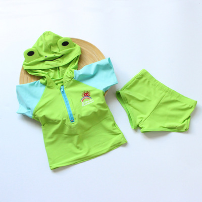 KID'S Swimwear Children Split Type Modeling Bathing Suit Green Frog Kuan