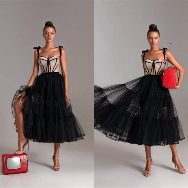 2020 Cheap Cocktail Dresses Spaghetti Tulle Tea Length Prom Party Dress Appliqued Custom Made Homecoming Gowns