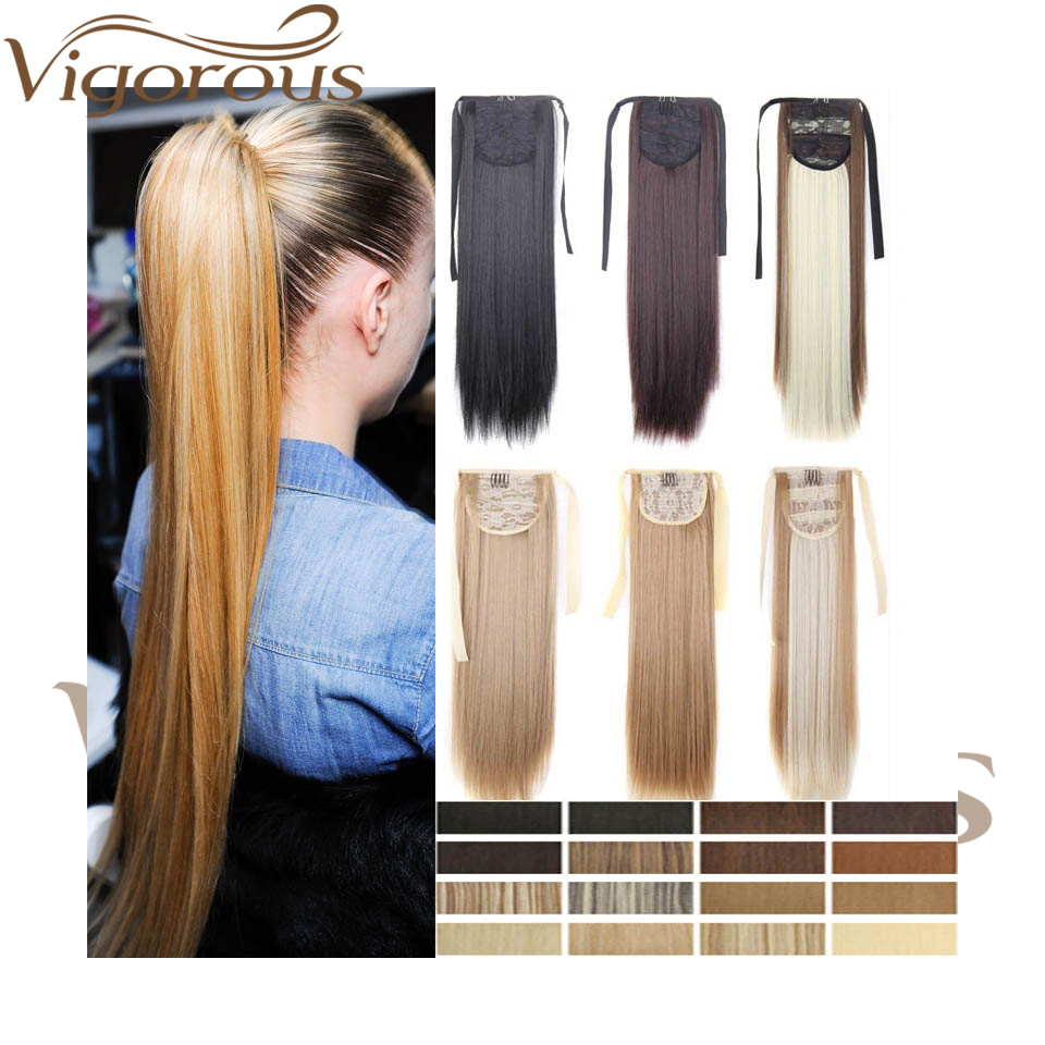 Vigorous 22inch  Long Straight Ponytails Clip In Synthetic Pony Tail Heat Resistant Fake Hair Extension Wrap Round Hairpiece