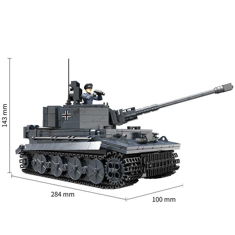 1201 قطعة نموذج دبابة ثقيلة من النمر الألماني لبنات البناء متوافق مع الجيش WW2 الجيش الجندي Bicks لعب للأطفال