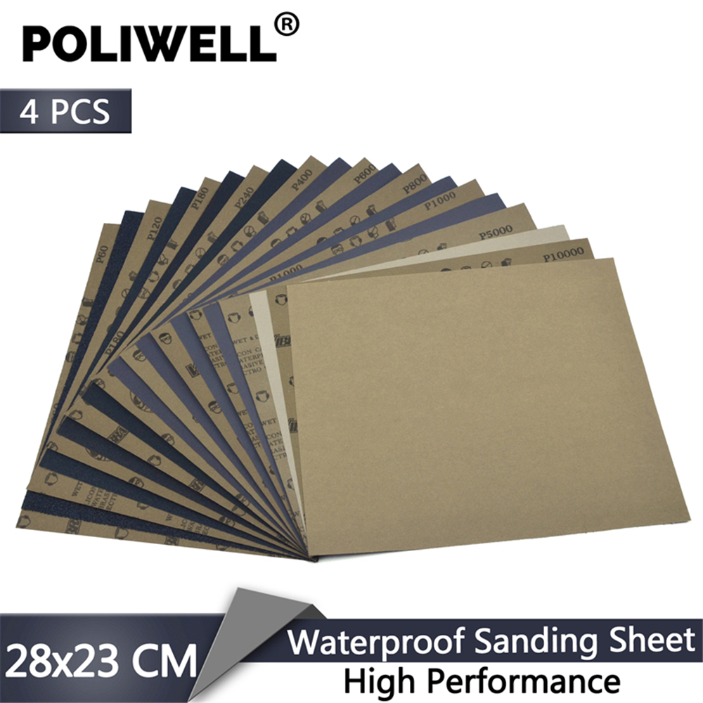 POLIWELL 4 PCS 280x230mm High Performance Waterproof Sanding Sheets Wet And Dry Sandpaper For Metal Wood Furniture Car Polishing