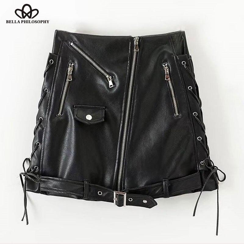 Bella Philosophy 2019 Autumn Winter High Waist Skirt PU Faux Leather Women Skirt Black Zipper Mini A Line Solid Skirt Women