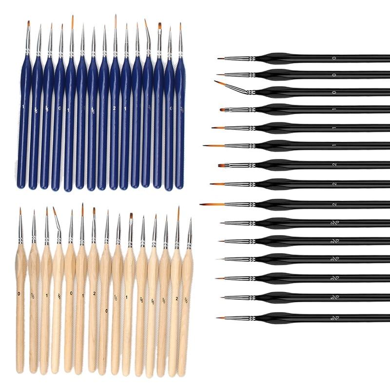 15Pcs Miniature Paint Brush Detail Brushes Set with Triangular Handle