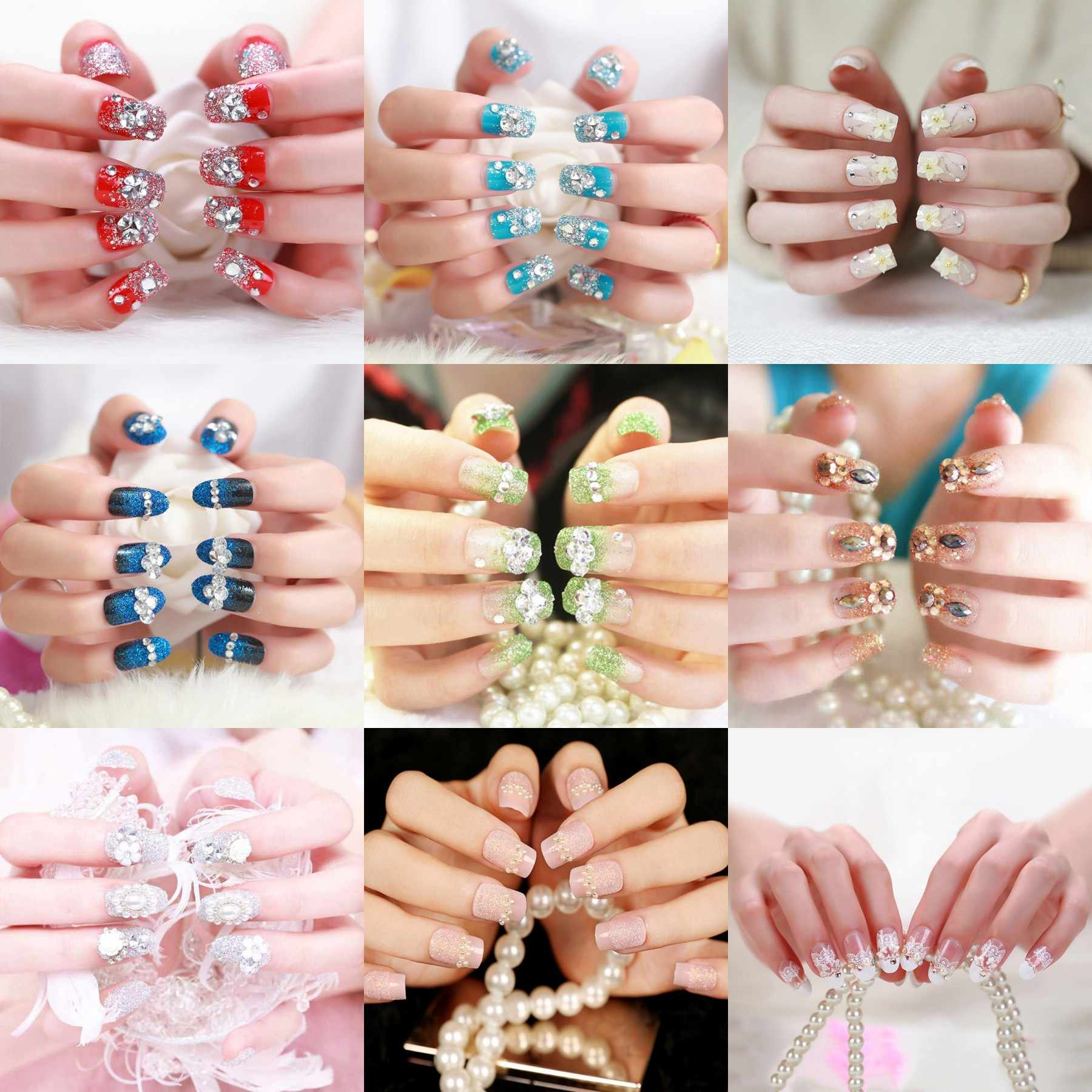 24pcs/Set Fashion Long Design False Nails Rhinestone Bead Fingernail Decor Full Cover Bride Nail Art Tips Fake Nails