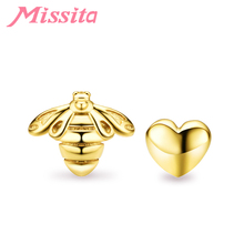 MISSITA Golden Bee & Heart Earrings For Women Fashion Jewelry Brand Studs Anniversary Girlfriend Party Gift Hot Sale