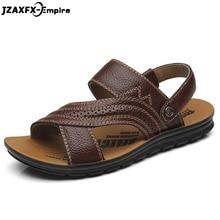 купить Men Sandals Summer Genuine Leather Roman Sandals Male Casual Shoes Beach Flip Flops Men Fashion Outdoor Slippers Shoes дешево
