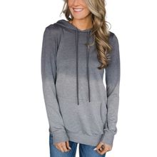 Womens Autumn Long Sleeve Drawstring Hoodies Color Block Gradient Pullover Tunic Tops Casual Cowl Neck Sweatshirt with Pocket color block panel drawstring pullover hoodie