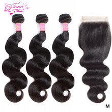 Queen Love Hair Body Wave Brazilian Hair Bundles With Closure Hair Vendor Wholesale Bundles Non-Remy Bundles And Closure(China)