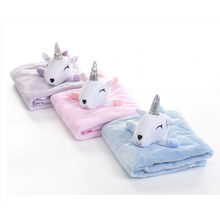 Cute Unicorn Plush Blanket For Adults Kids Watching TV Reading Winter Warm Wearable Fleece Throw Blankets(China)