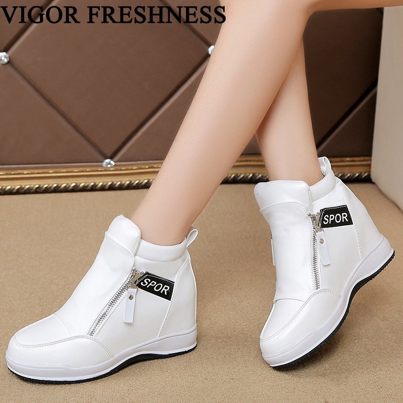 VIGOR FRESHNESS Autumn Pumps Women Shoes Wedges Heels Spring Woman Height Increasing Pumps White Sneakers Tennis Shoes WY160