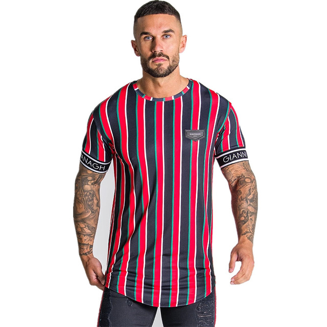 Casual Men T-shirt Stripe Summer Man   3