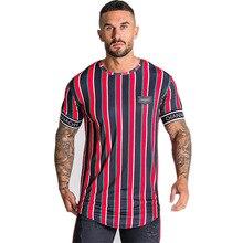 Casual Men Stripe Tops Hip Hop T Shirt SF