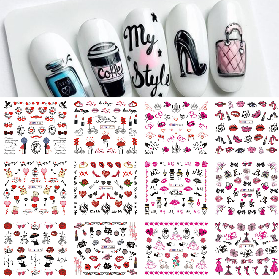12pcs Valentines Manicure Love Letter Flower Sliders for Nails Inscriptions Nail Art Decoration Water Sticker Tips GLBN1489-1500 27