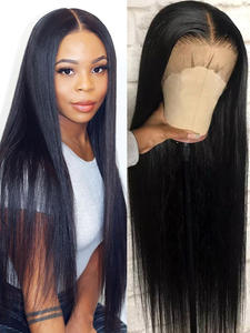 Wigs Short Human-Hair Long-Frontal 180-Density Brazilian-Bob Straight Black Women Full