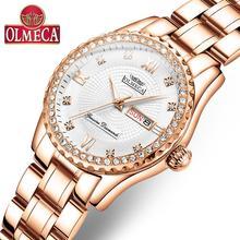 OLMECA נשים שעון יד אופנה אוטומטי תאריך יוקרה קוורץ שעונים Relogio Feminino שעונים 30M עמיד למים שעון ליידי סגנון