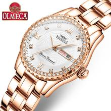 OLMECA Women Wrist Watch Fashion Auto Date Luxury Quartz Watches Relogio Feminino Watches 30M Waterproof Clock Lady Style