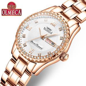 Image 1 - OLMECA Women Wrist Watch Fashion Auto Date Luxury Quartz Watches Relogio Feminino Watches 30M Waterproof Clock Lady Style