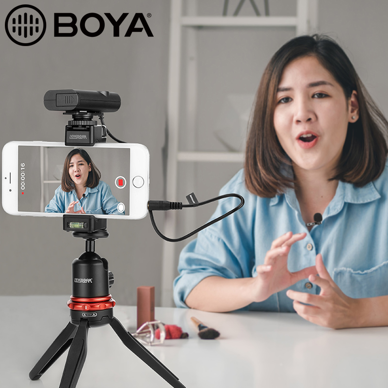 BOYA BY WM4 Pro Studio Microphone w Transmitters n Receiver Lavalier Microfone System for Mirrorless DSLR