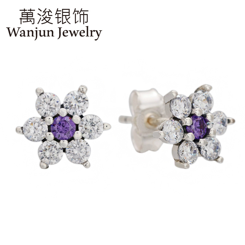 Wanjun Jewelry 925 Sterling Silver Original Shining Cast-in Bricks Forget-me-not Stud Earrings Mother's Day European Women Gift image