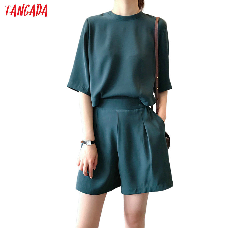 Tangada Women Elegant Back Buttons Summer Playsuits Elastic Waist Short Sleeve Rompers Casual Chic Jumpsuits Quality ASF19