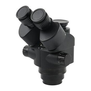 2019 Schwarz 7X-45X 3.5X-90X Simul-Brenn Trinocular Mikroskop Zoom Stereo Mikroskop Kopf + 0.5x 2.0x Hilfs Objektiv