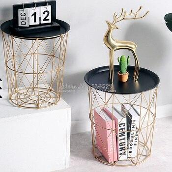 Coffee Table Metal Sofa Side Table Bed Living Room Sundries Storage Basket Organizer Tea Snack Tray Coffee Table Multifunctional