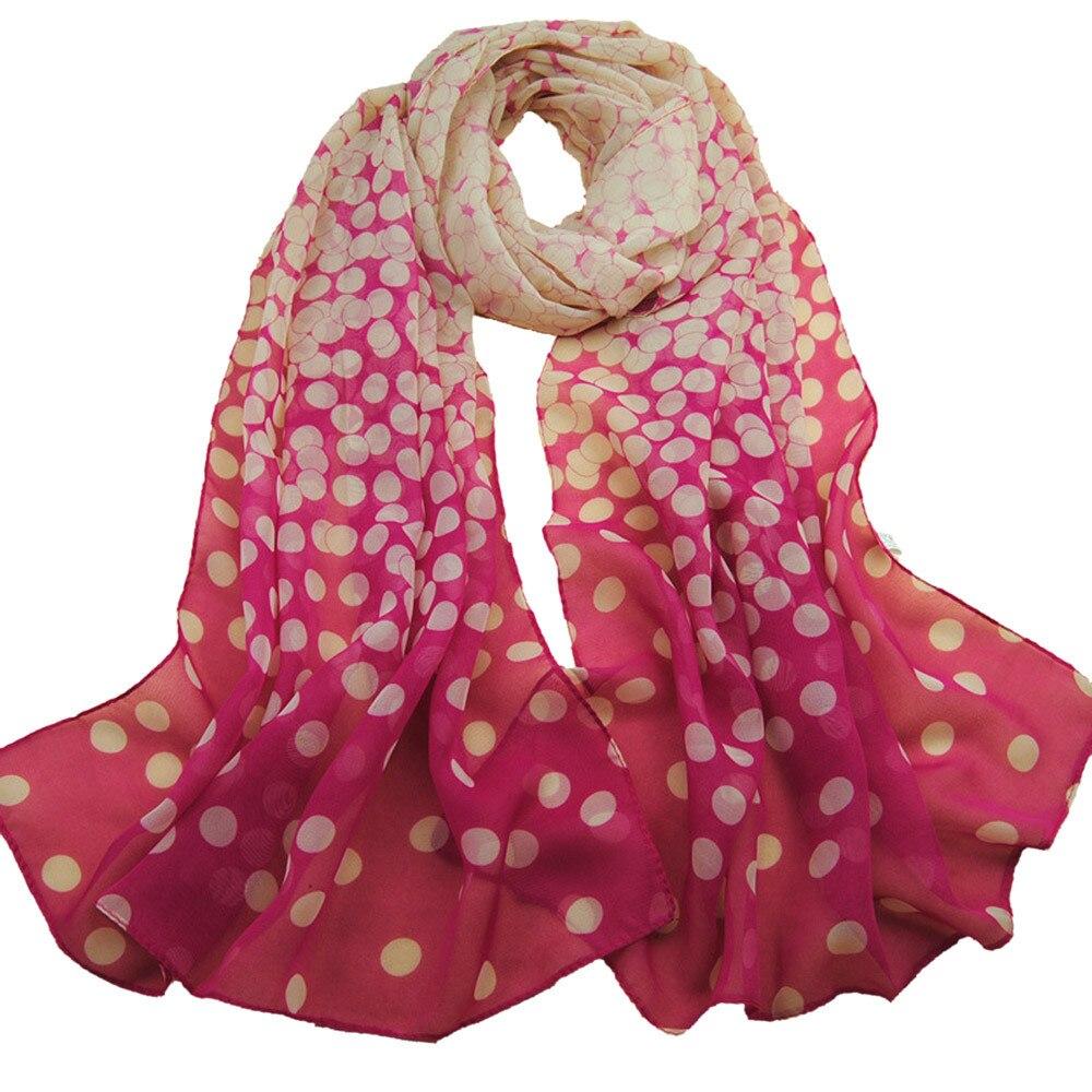 Sleeper #P501 2019 NEW FASHION Women Dot Long Soft Wrap Lady Winter Shawl Silk Chiffon Scarf Schal Cachecol Charm Design Gift
