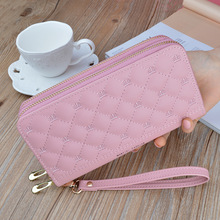 Double Zipper Wallets Fashion Lady Wristlet Handbags Long Money Bag Coin Purse C