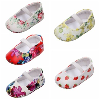Newborn Skin-friendly Floral Soft Sole Shoes Baby Girl Shallow PU Leather Shoes Infant Anti-slip Toddler Shoes image