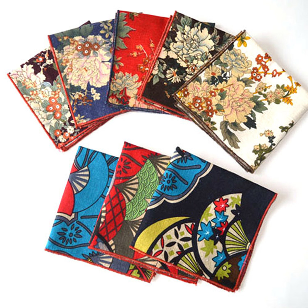 Men Vintage Peony Japan Style Floral Handkerchief Wedding Pocket Square Hanky BWTYX0008