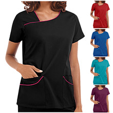 2021 Women's Short Sleeve V-Neck Pocket Care Workers T-Shirt Tops Summer Workwear Tops Sexy Printed Nurse Uniform Clinic Blouse