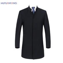 2020 מותג Mens בציר בלייזר מעילי סיני סגנון עסקי שמלת טרייל מקרית צווארון עומד מעילי זכר Slim Fit חליפת מעיל