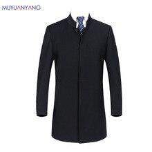 2020 marka erkek Vintage Blazer palto çin tarzı iş elbise Blazers Casual standı yaka ceketler erkek Slim Fit takım elbise ceket