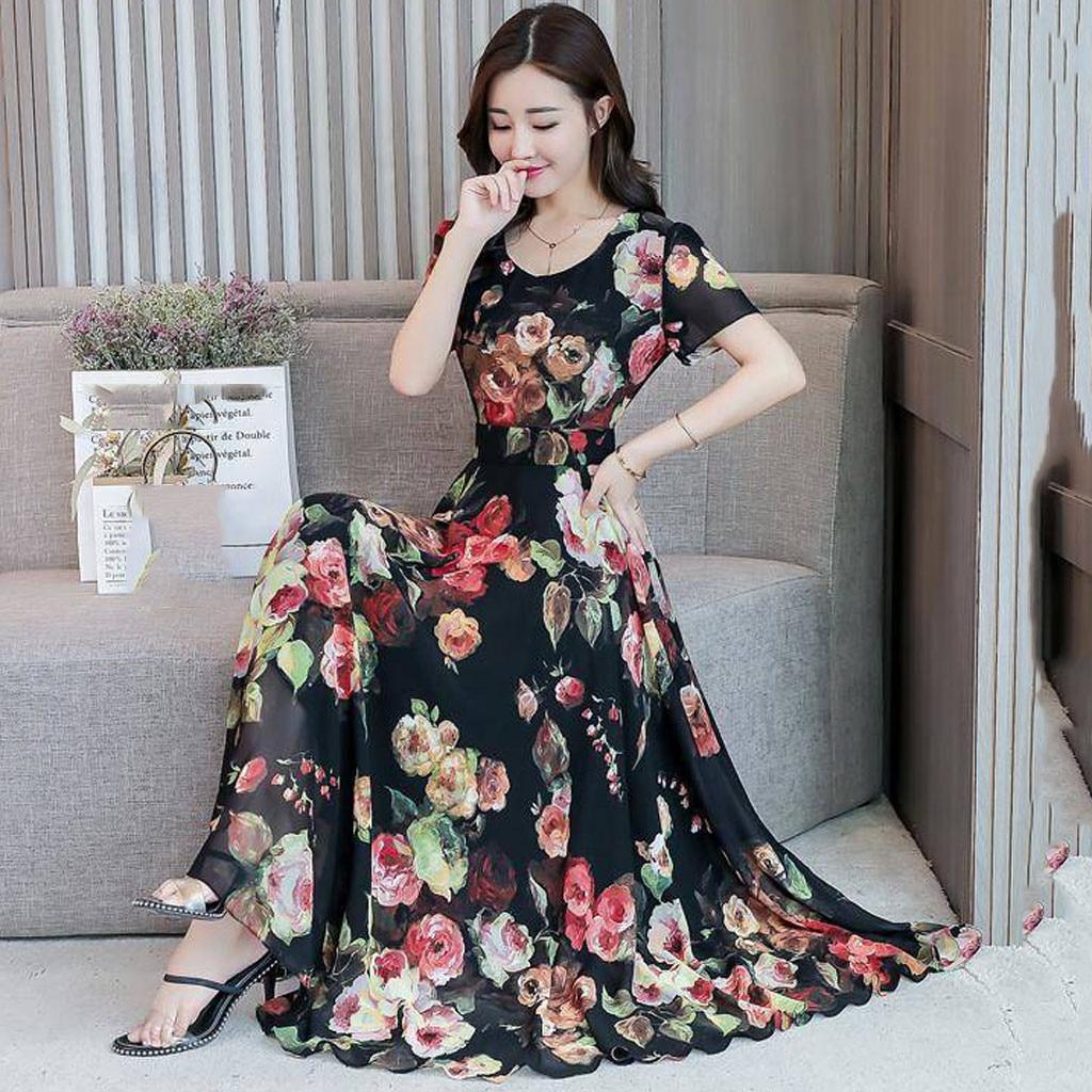 A-line Vintage Ladies Dress O-Neck Short Sleeve Long Elegant Chiffon Dress Floral Printed Slim Boho Summer Dress 2020 #30
