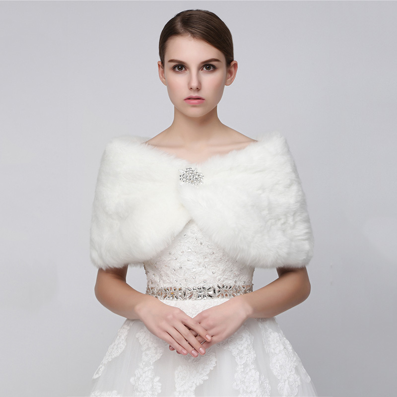 Wholesale Colorful Ackets  Faux Fur Bolero Bridal Shawl Wraps Shrug Winter Wedding  For Women Fur Coat Evening Dress Shawl