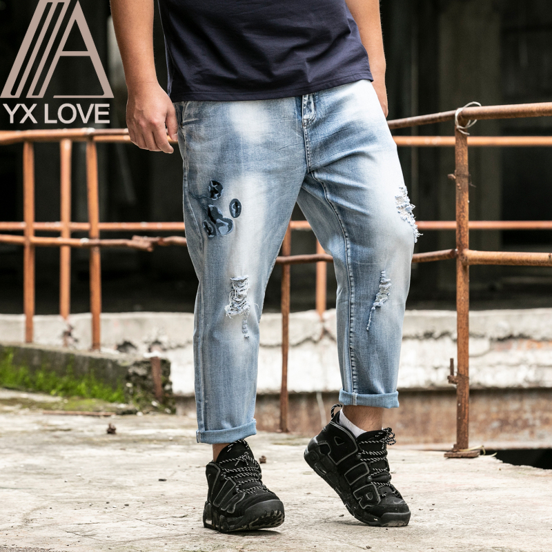 Jeans Men Pants 28-48 Large Size Loose Mid Softener Straight Comfortable Ankle-length Zipper Fly Trousers Causal Daily Clothes