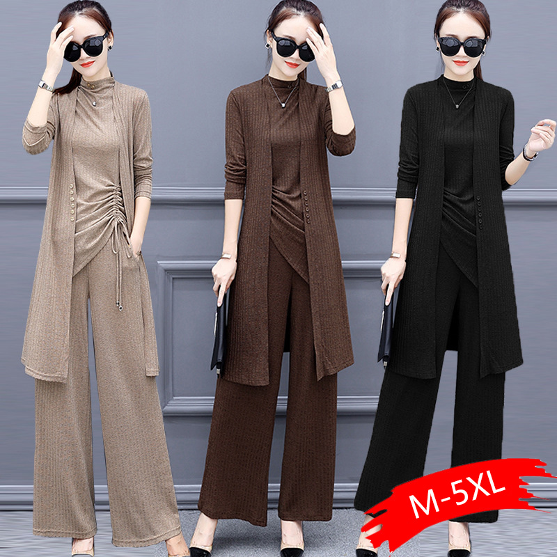 Knitted 3 Pieces Set Women Tracksuit Long Sleeve Cardigan And Sleeveless Pullover Tops And Wide Leg Pants Suit Women's Sets 2020