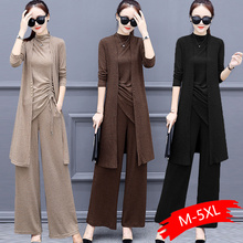Knitted 3 Pieces Set Women Tracksuit Long Sleeve Cardigan And Sleeveless Pullove