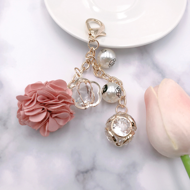 New Flower Crystal Rhinestone Key Chain Porte Clef Flower Keyring Friends Keychain Pants KeyRing Llavero Jewelry Gift  SL005